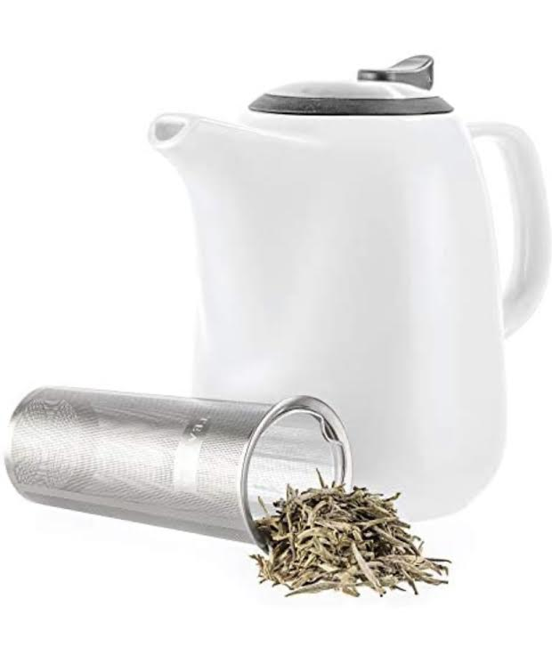 White Ceramic Teapot with Infuser
