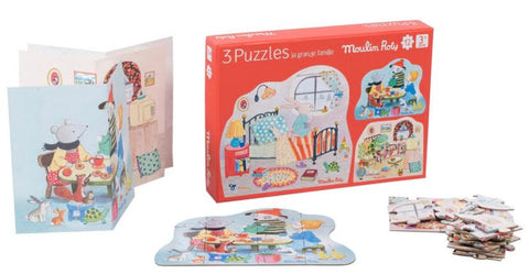 Moulin Roty La Grande Famille Set of 3 Puzzles