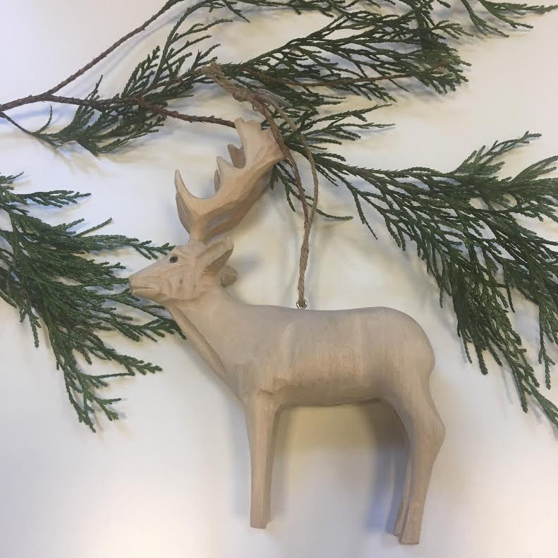 Carved Wood Deer Ornament