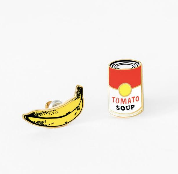 Pop Art Banana & Soup Earrings