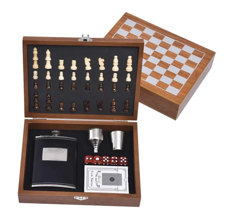 Game Night Box Set- Chess, Flask, and Cards