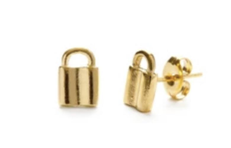 Tiny Padlock Stud Earrings
