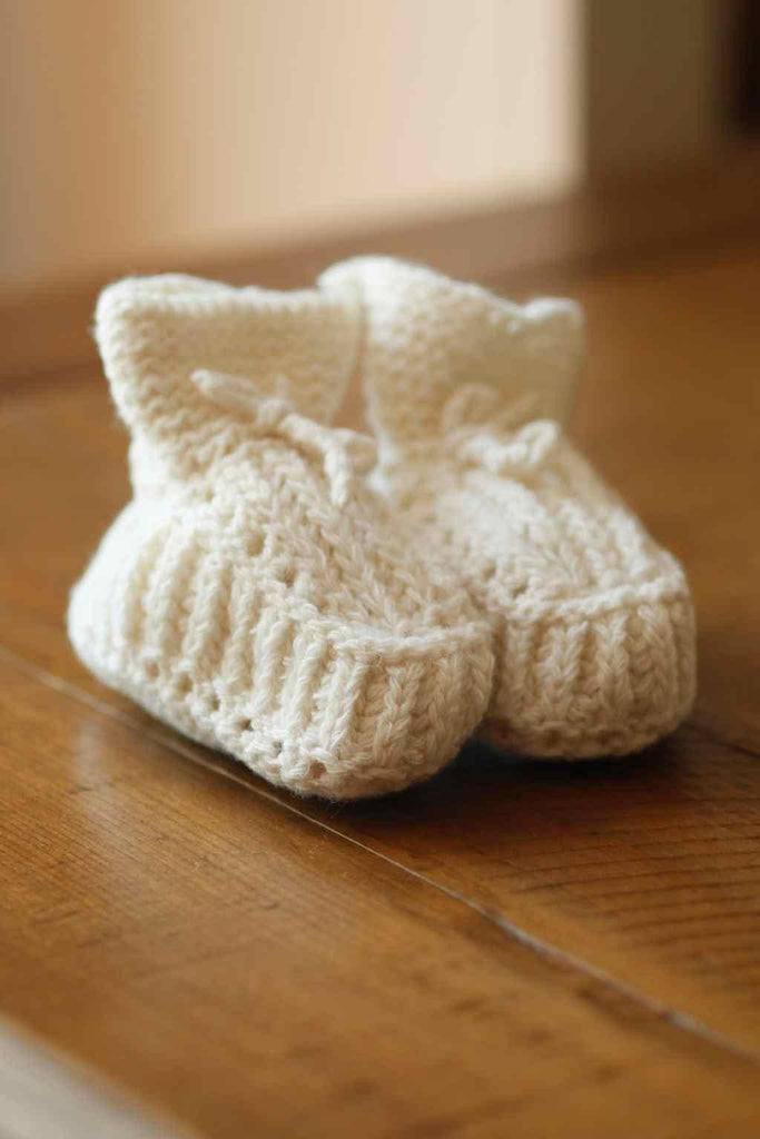 Fog Linen Knit Baby Shoes- Wool