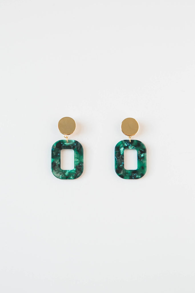 Marbled Green Acrylic Square Earrings