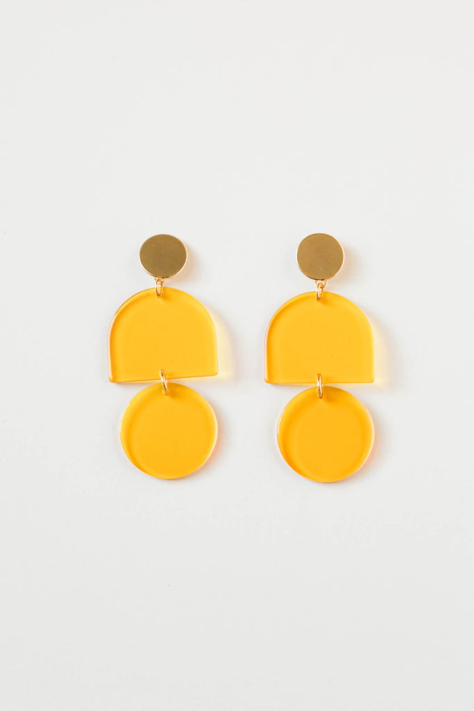 Yellow Transparent Acrylic Earrings