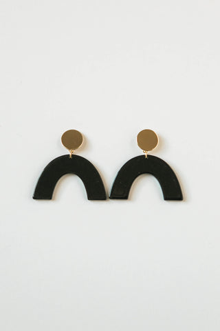Jet Black Acrylic Rainbow Earrings