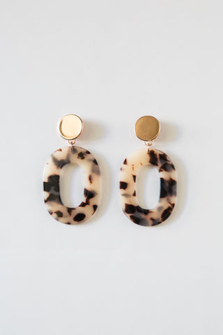 Blonde Tortoise Acrylic Oval Earrings