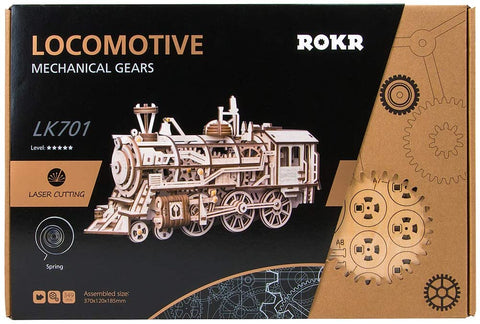 ROKR Locomotive Mechanical Wooden Gear 3D Puzzle Kit