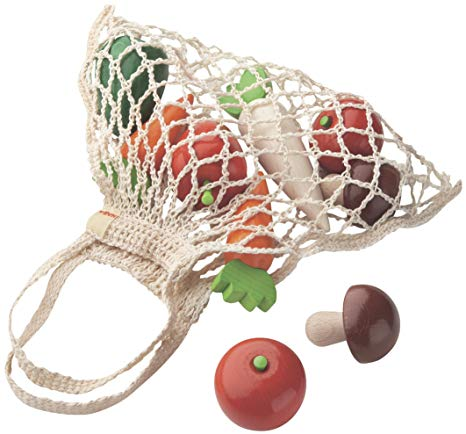 Wooden Vegetables in Shopping Bag