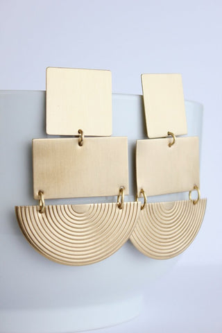 Square/ Rectangle/ Rainbow Brass Earrings