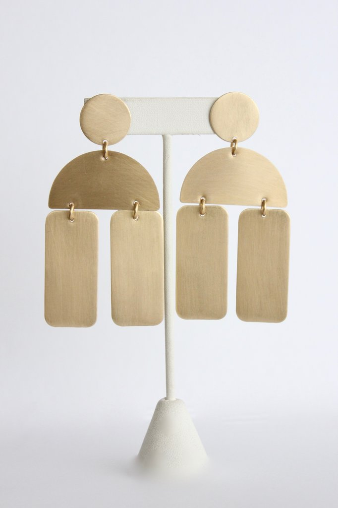 Half Circle / Rectangle Brass Earrings