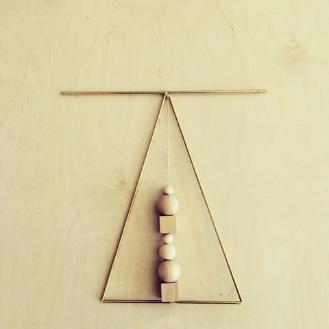 Brass & Wood Wall Hanging