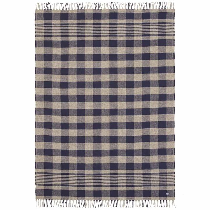 Plaid Navy/Grey Fringed Throw