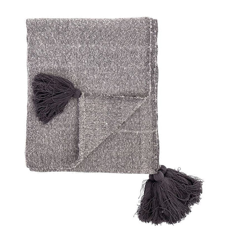 Light Grey Cotton Throw with Tassels