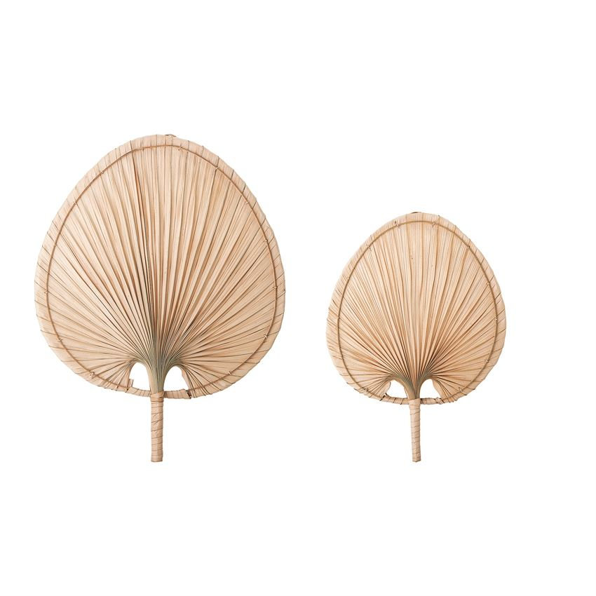 Natural Palm Leaf Fans- Set of 2