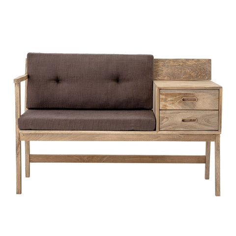 Mango Wood Phone Bench with Cushions
