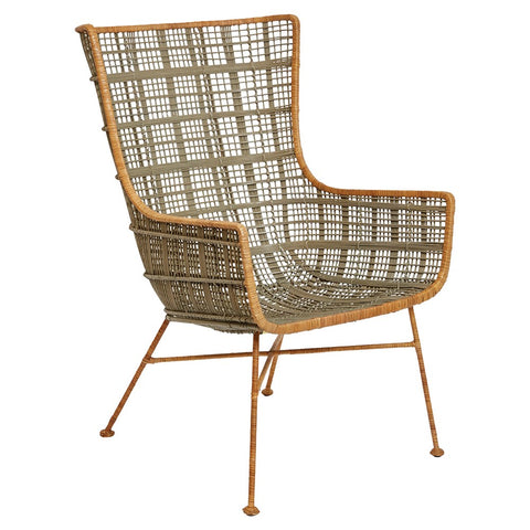 Grey Wicker & Wrought Iron Chair
