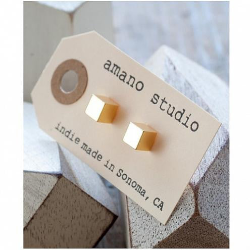Medium Gold Cube Post Earrings