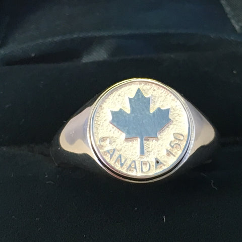 Canada 150 Maple Leaf Signet Ring-Sterling Silver