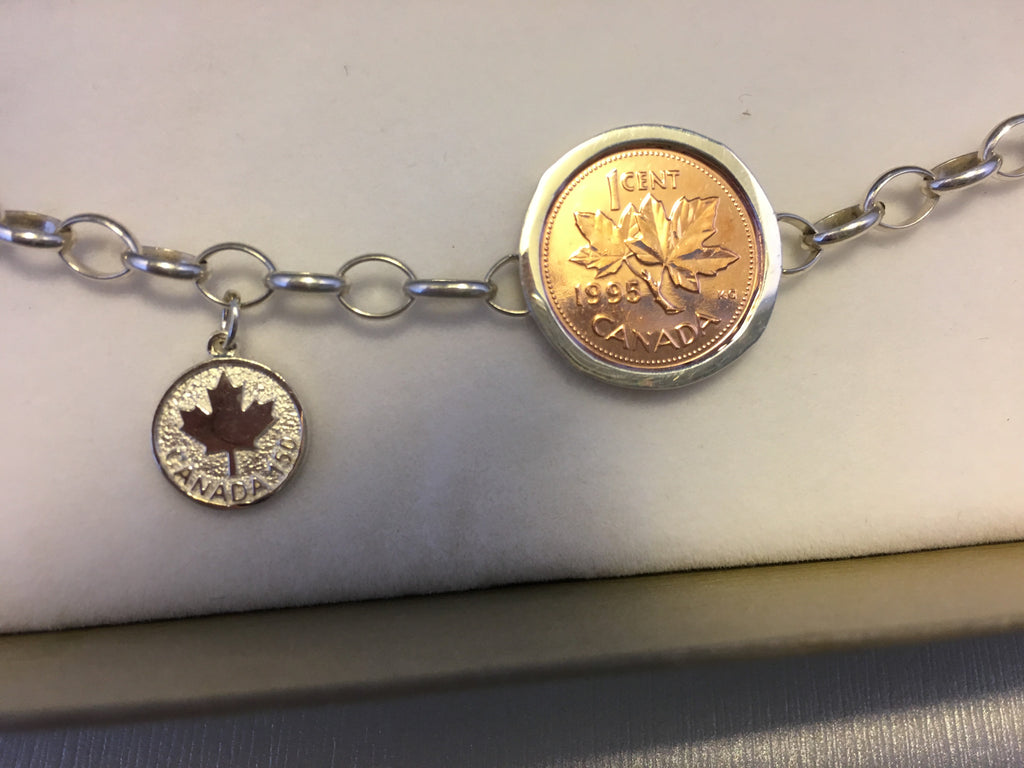 Canada Lucky Penny 150 Charm Bracelet-Sterling Silver