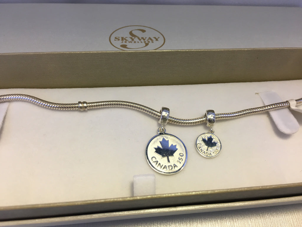 Oh Canada! Pandora-fit Charm, Maple Leaf and 150 - Sterling Silver