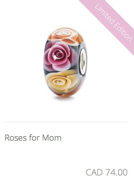 Trollbeads - Roses for Mom Glass Bead