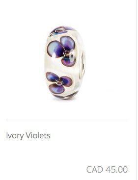 Trollbeads - Ivory Violets Glass Bead