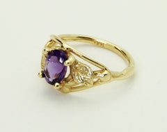 R-1000 14K Gold Ring/ Leaf Sides/ Amethyst