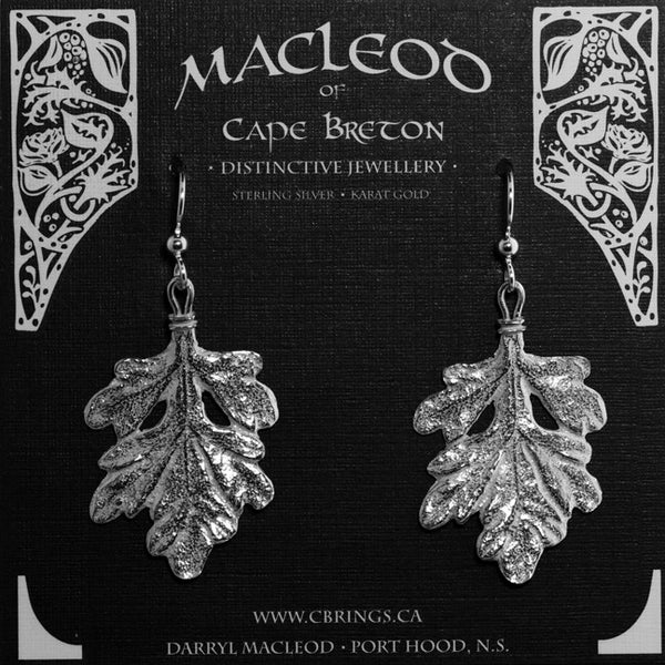 E-217C Dusty Miller Leaf Earrings, Large