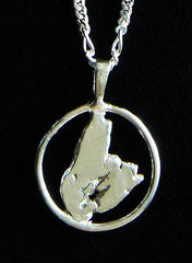 P-401B Cape Breton Pendant, open, wire frame with Figaro Chain