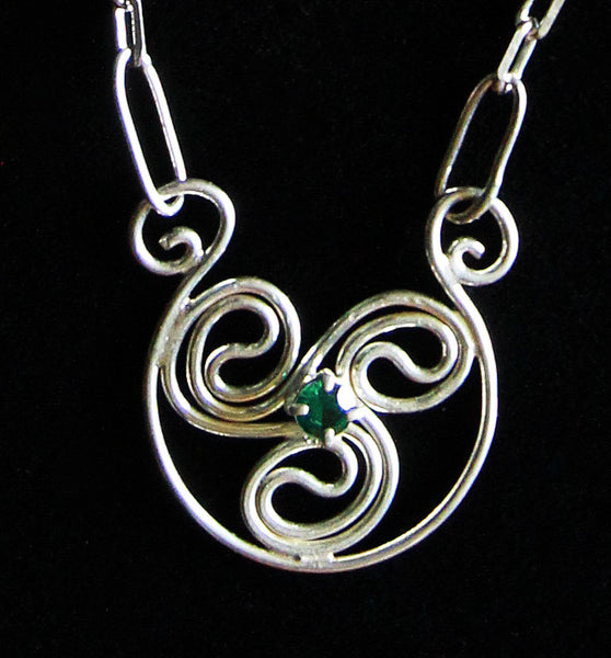 P-022 Celtic Swirl Necklace with Laboratory Grown Emerald