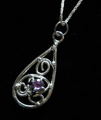 P-005 Wire Design Teardrop pendant With gemstone