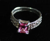 R-1004 Sea Urchin Texture Ring/ Pink Gemstone