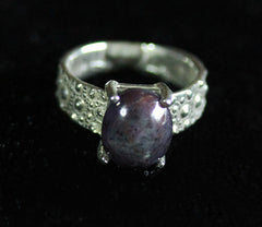R-1005 Sea Urchin Texture Ring/ Natural Star Sapphire