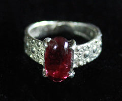 R-1006 Sea Urchin Texture Ring / Genuine Tourmaline