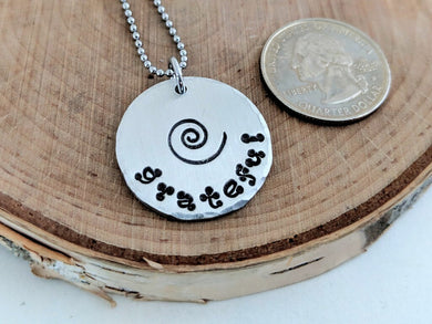 Pewter, Stainless Steel Round Pendants with Inspirational Messages
