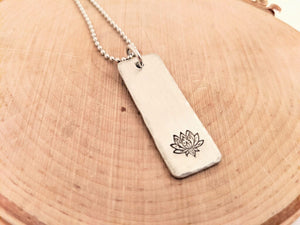 Pewter Hand Stamped Rectangle Necklaces