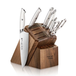 Thomas Keller Signature Collection by Cangshan - White Series 7-Piece Knife Block Set, Walnut Block