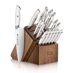 Thomas Keller Signature Collection by Cangshan  - White Series 17-Piece Knife Block Set, Walnut Block