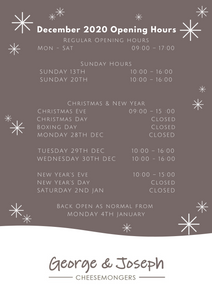 Christmas Opening Hours 2020 at George & Joseph
