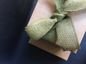 hamper box with green ribbon