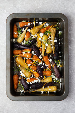 roasted heirloom carrots with marinated feta recipe