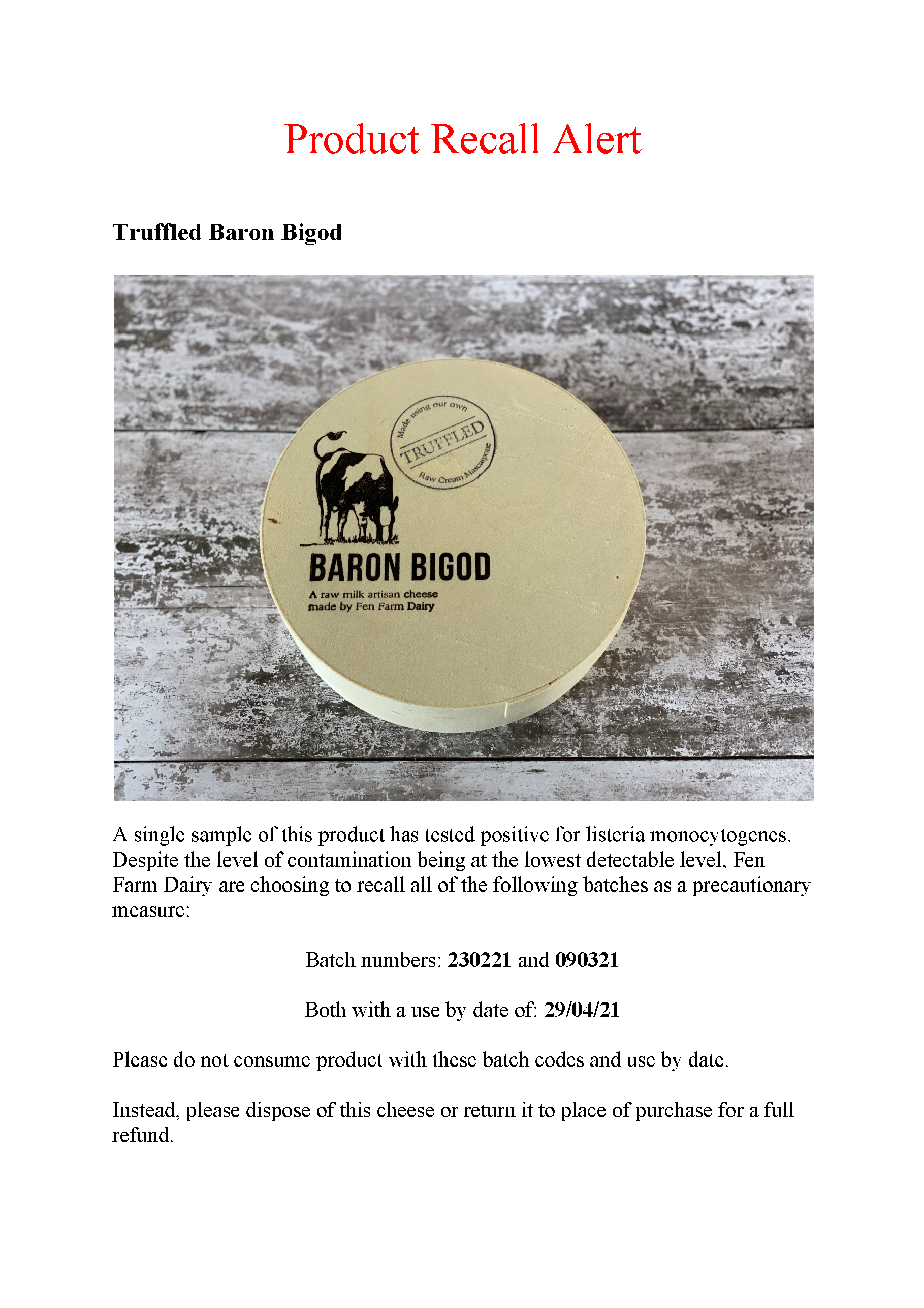 product recall on truffle baron