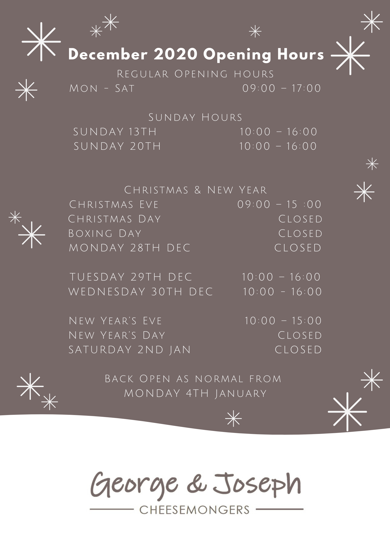 george and joseph christmas opening hours