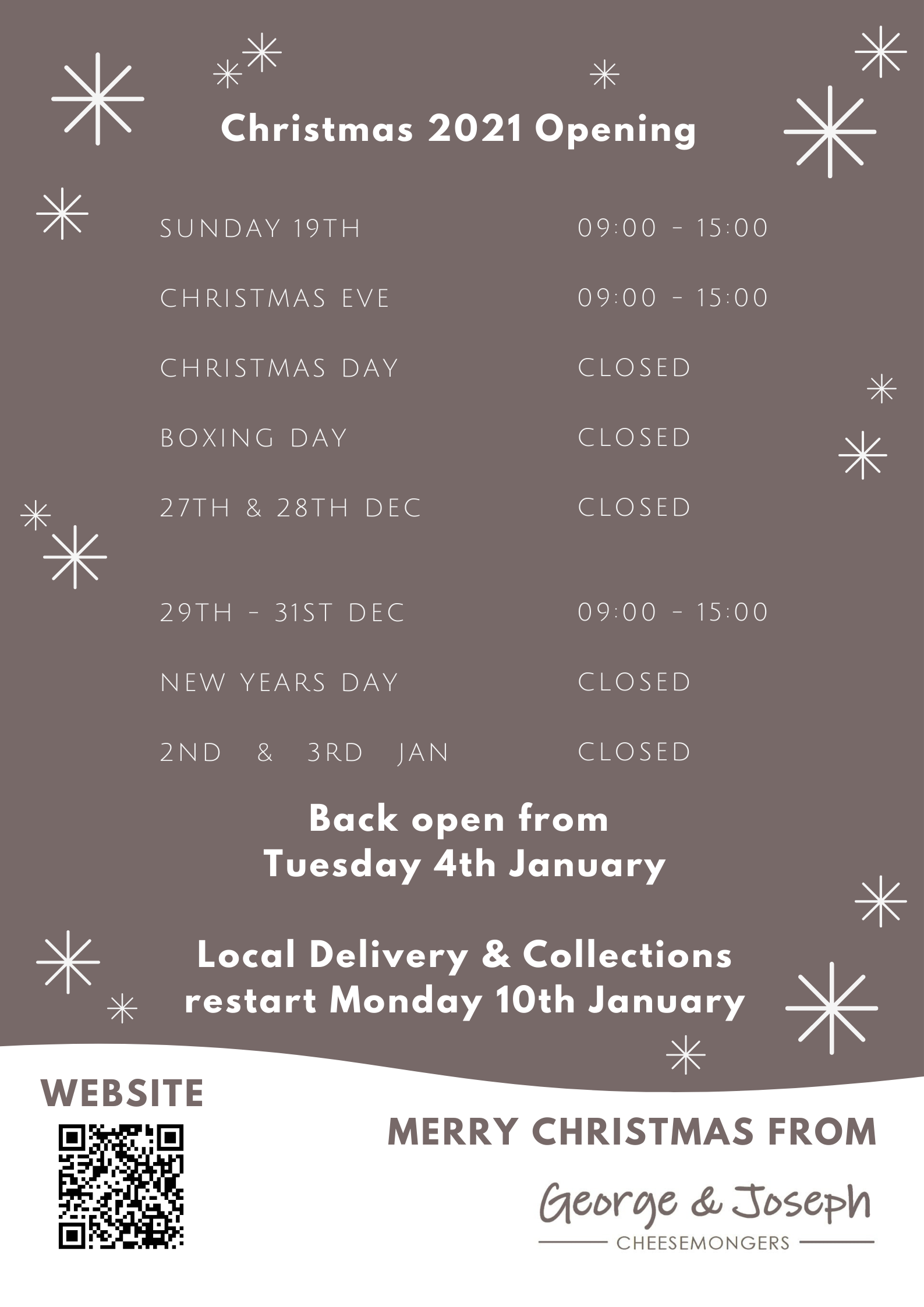 christmas and new year opening at george and joseph cheesemongers chapel allerton