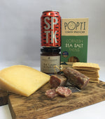 Load image into Gallery viewer, hamper with old winchester, popti crackers, north brew sputnik, cornish charcuterie salami, rosebud preserves chutney