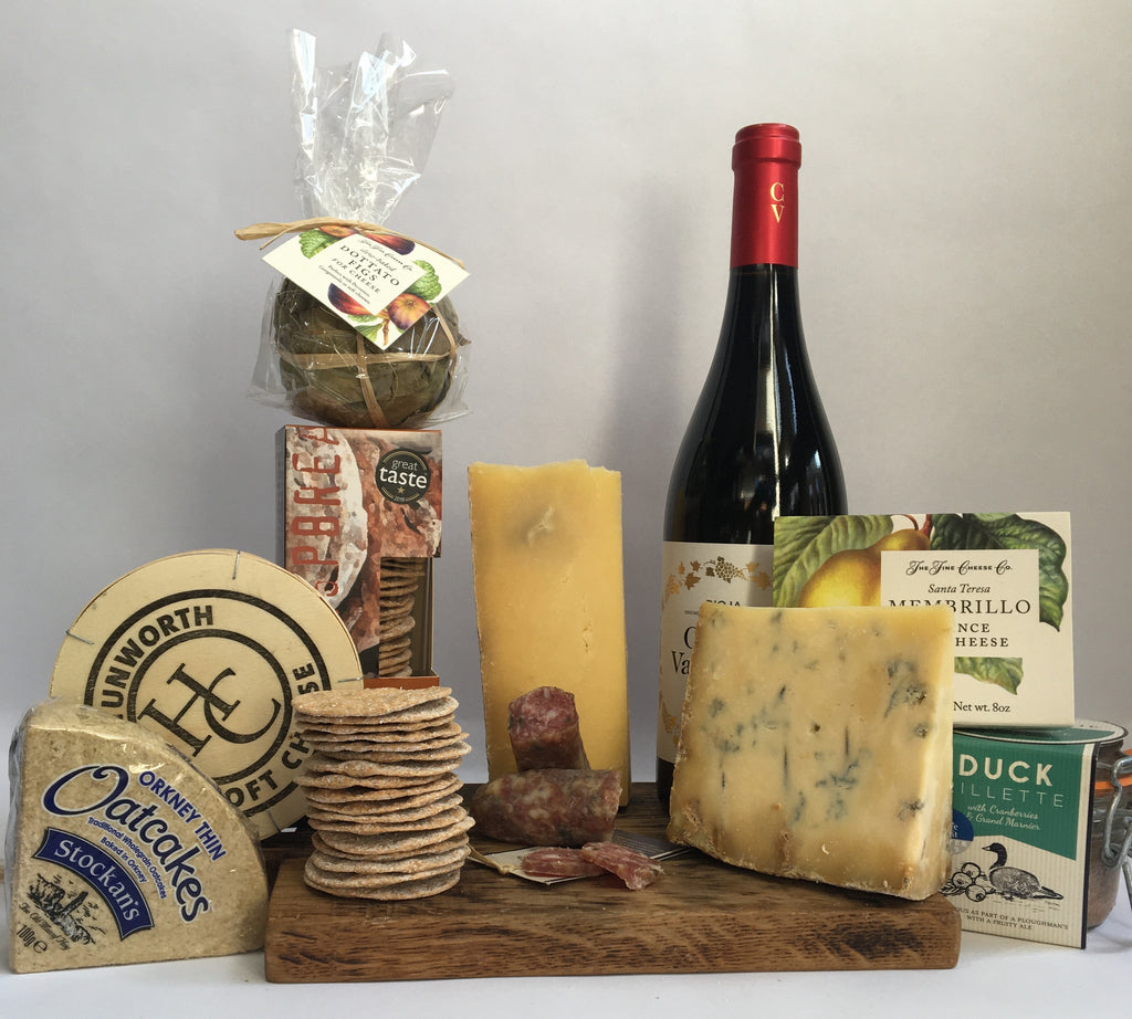 deluxe cheese, charcuterie and wine hamper