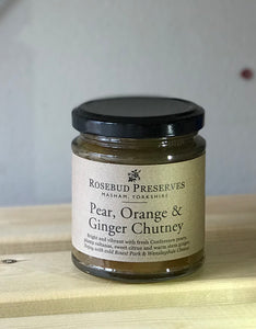 rosebud pear, orange and ginger chutney