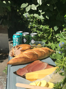 ploughman's picnic and beer cans