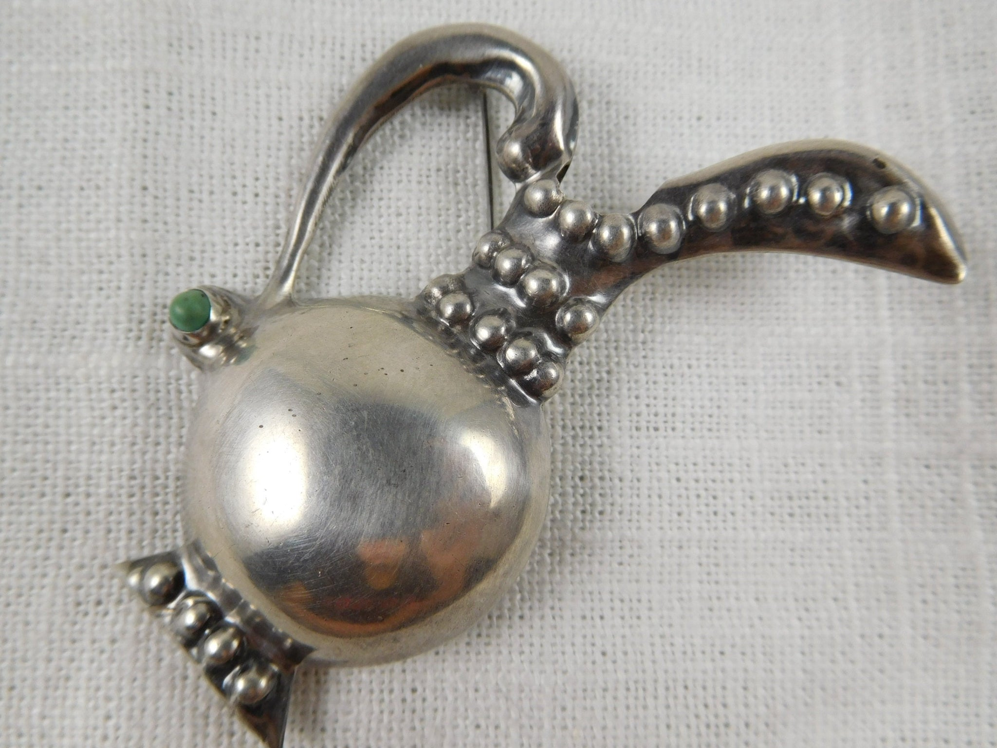 Vintage Mexican Sterling Silver Posey Holder Pitcher Brooch